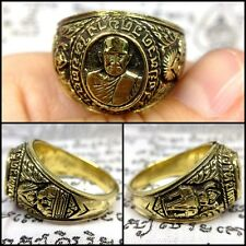 Magic Spell Ring LP Tuad Brass Thai Buddha Amulet Sacred Talisman Wealth Size11