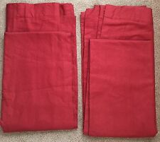 *2 Pottery Barn Solid Red Lined LINEN Blend Pole Clip Rings Curtain Drapes 50x84