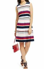 NWT TOMMY HILFIGER WOMENS LADYS MULTI STRIPED PLEATED SHIFT DRESS, SIZE 10
