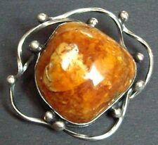 Bernstein Silber Brosch - butterscotch amber silver brooch - Vintage