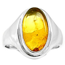 Baltic Amber 925 Sterling Silver Ring Jewelry s.8.5 BAMR32