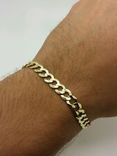 "14k Solid Yellow Gold High Polish Cuban Curb Link Chain Bracelet 8.5"" 7mm"
