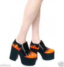 Unif PYRO Dolls Kill Sold Out Womens US9 Flames Chunky Platform Shoes HTF $195
