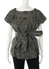 Escada Brown White Embroidered Knit Matless Trench Blouse Size EUR 42 $990 New