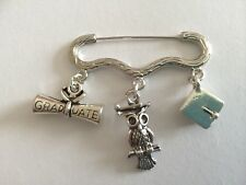 GRADUATION Silver Tone Kilt Pin Brooch Scroll Wise Owl & Mortarboard Hat gift