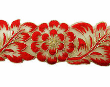 Fabric Trim Supply Lace Embroidered Sari Border Crafting 6.35 Cm Wide By 1 Yard