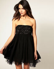 Mina Lace Bust Bandeau Rapture Chiffon Evening Dress BLACK UK 14-EU 42 rrp £65