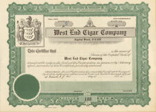 West End Cigar Company   Newark New Jersey stock certificate share