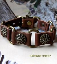 Men Trendy Wheel of Fortune Motorcycle Rider Surfer Character Leather Bracelet