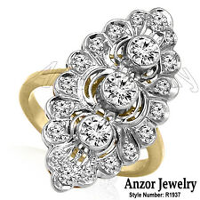 Russian Style 14k Yellow & White Gold 1.25ct Diamond Marquise Shape Ring #1936