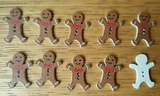 10 Gingerbread Man wooden button Flatback Craft,Card .Embellishments.2.2x3cms.