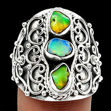 Ethiopian Opal Rough 925 Silver Ring Jewellery Size UK Q US 8
