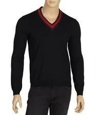 NEW GUCCI MEN'S NAVY BLUE LANA WOOL WEB V NECK CURRENT SWEATER L/LARGE