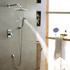 Wall Mount Contemporary Chrome Rain Shower Faucet Set with Mixer Valve