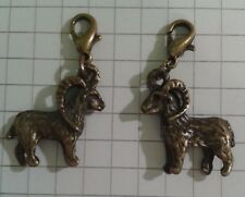 """2 CHARMS """"RAMS"""" LOBSTER ANTIQUE GOLD PLATED FOR  HANDBAGS / PURSES"""