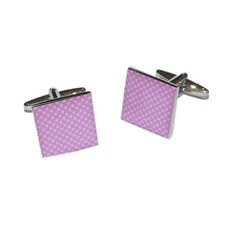 Pale Pink & White Polka Dot Cufflinks & Gift Pouch