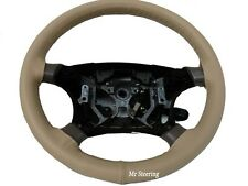 FITS AUDI A4 B5 B6 1994-2005 BEIGE 100%REAL GENUINE LEATHER STEERING WHEEL COVER