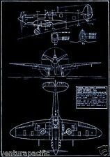 Vickers Armstrong Supermarine Spitfire V6  : Fine Blueprint Giclee Poster