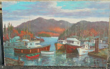 A.M ROBERTS ORIGINAL OIL PAINTING B.C HARBOR BOATS A.J CASSON GROUP OF 7 SCHOOL