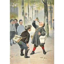 Antique French Lithograph, Children School Playground, Jean Geoffroy, 1887