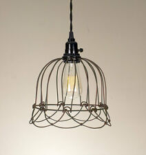 Wire Bell Pendant Hanging Light Green/Rust Lamp Vintage Rustic Shabby Chic