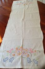 """Vintage Linen Table Runner Beautiful Flowers Hand Embroidered 18 By 38"""""""