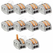 10x Terminal Block Lever Home Wire Connector 2 Pole Cable Clamp Nuts Reusable