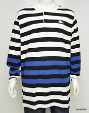 Nwt $135 Lacoste Colorblock Stripe Mesh Rugby Polo Shirt White/Black/Blue XLT
