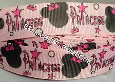 "2 M PRINCESS MINNIE MOUSE GROSGRAIN RIBBON 22MM 7/8"" HAIR BOW CAKE CARD BIRTHDAY"