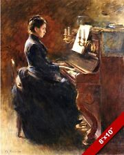 WOMAN IN DRESS PLAYING UPRIGHT PIANO OIL PAINTING ART REAL CANVAS GICLEE PRINT