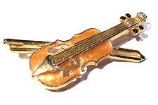 Bijou alliage doré broche thème musique violon émaillé  brooch