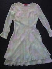 EMANUEL UNGARO PARIS SILK CHIFFON  TIERED DRESS FLORAL PASTEL