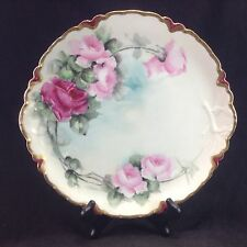 "Limoges France Hand Painted Roses 11.5"" Display Cabinet Plate Flowers Vintage"