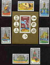 MONGOLIA 1990 SEVEN WONDERS OF THE ANCIENT WORLD SET AND SHEET - $12.20 VALUE!