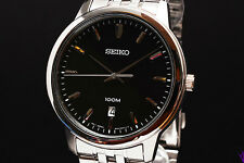 Seiko SUR031 Gents Silver Stainless Steel Black Dial Mens Watch RRP £199