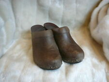 "Dansko""Sonja"" Brown Distressed Leather Clogs 3.5"" Heels Women's Size 39 US 8.5"