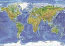 WORLD MAP EDUCATIONAL (LAMINATED) POSTER Political Terrain Geography School NEW