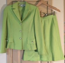 St John Collection Chartreuse Skirt Suit Pearl Buttons Size 4/8 Textured Knit