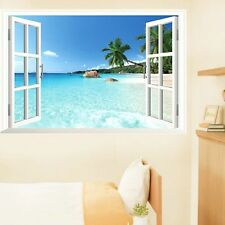 Beach 3D Window View Removable Wall Art Sticker Vinyl Decal Home Decor Mural