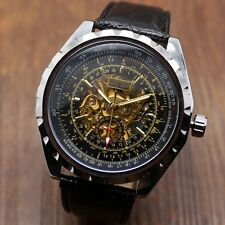 Jaragar Photochromic Glass Leather Band Skeleton Automatic Mechanical Watch Gift
