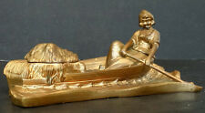Victorian ANTIQUE Vintage ART NOUVEAU Dutch Girl in Boat BRONZE METAL INKWELL
