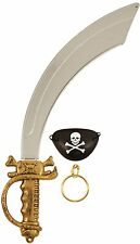 PIRATE SET FANCY DRESS PLASTIC SWORD SKULL EYE PATCH AND EARRING B52 770