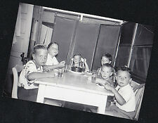 Vintage Antique Photograph Children At Table With Birthday Cake in Retro Kitchen