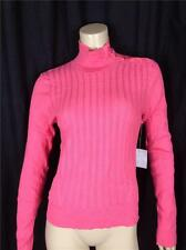 FAMOUS CATALOG LIGHTWEIGHT  MOCK TURTLENECK TEXTURE CROPPED SWEATER CORAL SZ  L