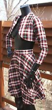 vtg 40's 50's red tartan plaid fine wool cropped BOLERO TOP jacket and SKIRT xs