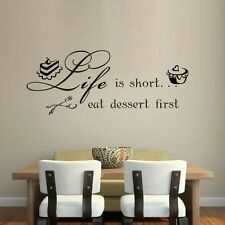 Life Is Short Cake Eat Quote Art Vinyl Wall Sticker Decal Dinner Room Decor UK