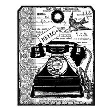 Crafty Individuals CHUNKY VINTAGE TELEPHONE TAG Unmounted Red Rubber Stamp