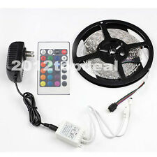 3528 5m RGB 300 LED SMD Flexible Light Strip Lamp+24 Key IR+12V 2A Power Supply