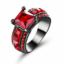 Size 7 Black Wedding Engagement Ring Red Crystal Cluster Cocktail Party Jewelry
