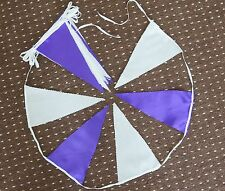 20ft. PURPLE SATIN & WHITE COTTON BUNTING FABRIC FLAGS WEDDINGS POST FREE